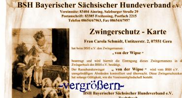 Zwingerschutzkarte vom Bolonka Zwetna Züchter